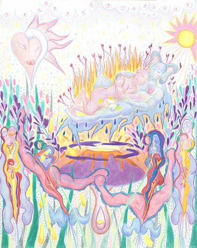 Valentin Ranger, Une effloraison pendant la déflagration crayon de couleur et pastel 50x65 cm, 2020 - © Villa Noailles Hyères